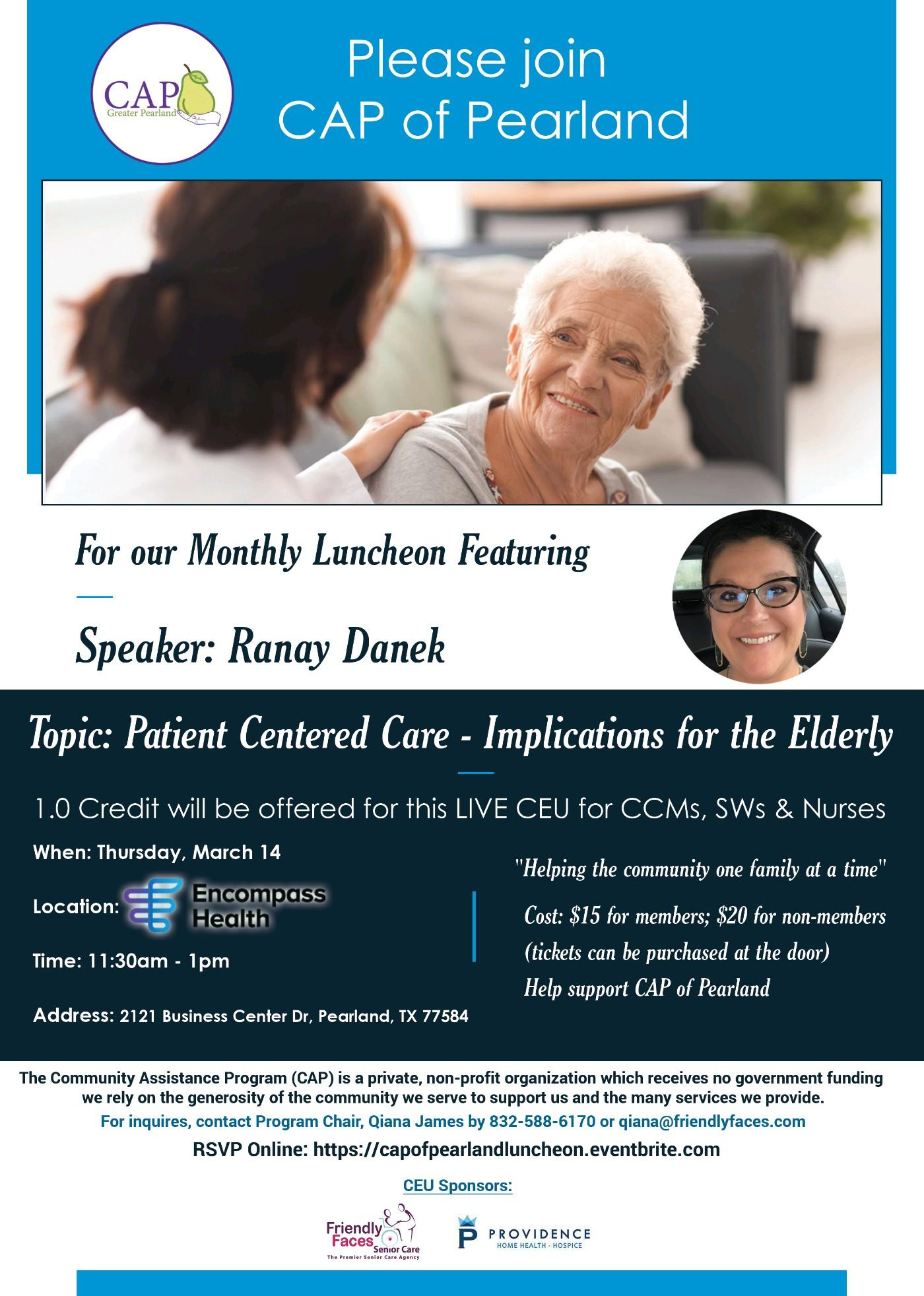 CAP of Greater Pearland March 2019 General Luncheon @ Encompass Health of Pearland