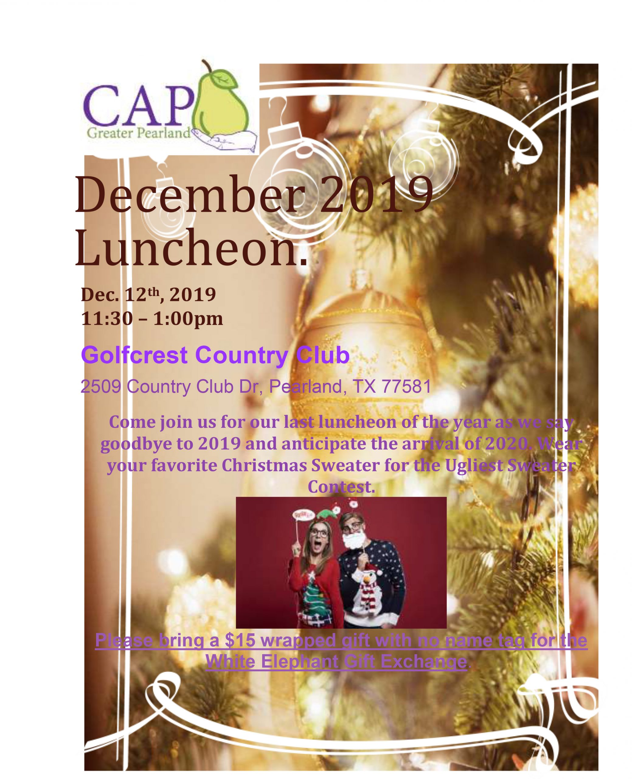 December 2019 General Membership Monthly Luncheon @ Golfcrest Country Club