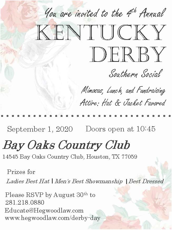 4th Annual Kentucky Derby Southern Social UPDATED NEW DATE! @ Bay Oaks Country Club